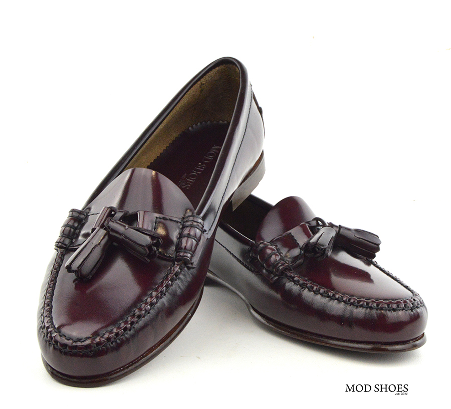 mod shoes ladies leather soled tassel loafer oxblood burgundy LaBelle 02