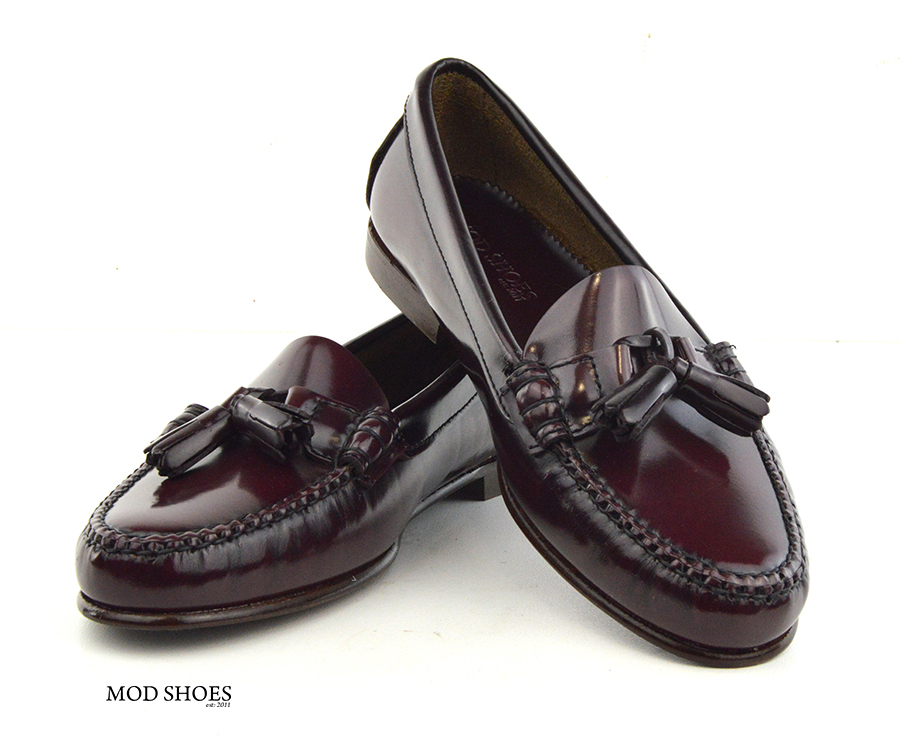 mod shoes ladies leather soled tassel loafer oxblood burgundy LaBelle 03