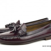 mod shoes ladies leather soled tassel loafer oxblood burgundy LaBelle 04