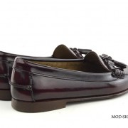 mod shoes ladies leather soled tassel loafer oxblood burgundy LaBelle 07