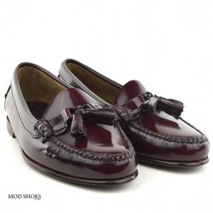mod shoes ladies leather soled tassel loafer oxblood burgundy LaBelle 09