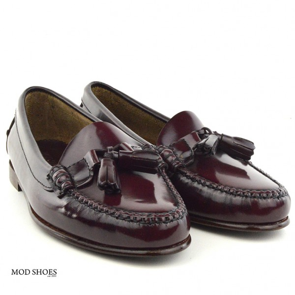 mod shoes ladies leather soled tassel loafer oxblood burgundy LaBelle 09