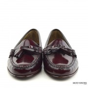 mod shoes ladies leather soled tassel loafer oxblood burgundy LaBelle 10