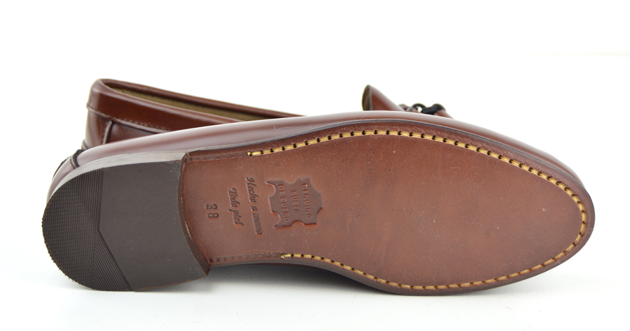chestnut tassel loafer with leather sole the