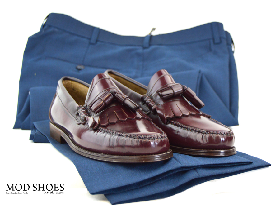 modshoes-oxblood-dukes-tassel-loafers-with-Blue-two-tone-trousers