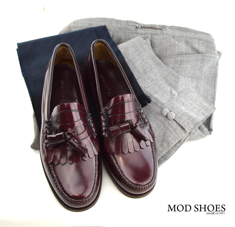 mod-shoes-oxblood-tassel-loafers-the-dukes-with-prince-of-wales-trousers