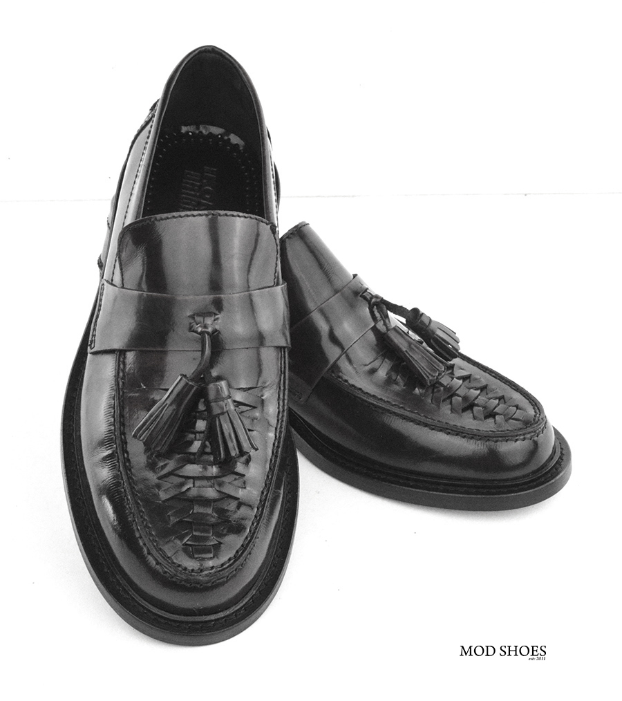 mod shoes basker weave tassel loafers black allnighters 03