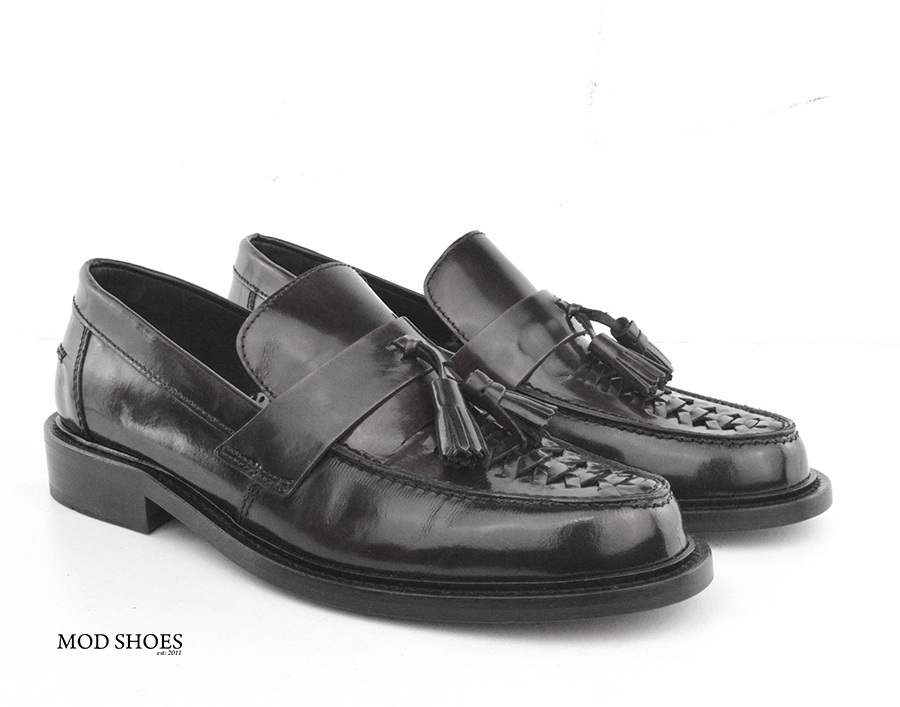 mod shoes basker weave tassel loafers black allnighters 04