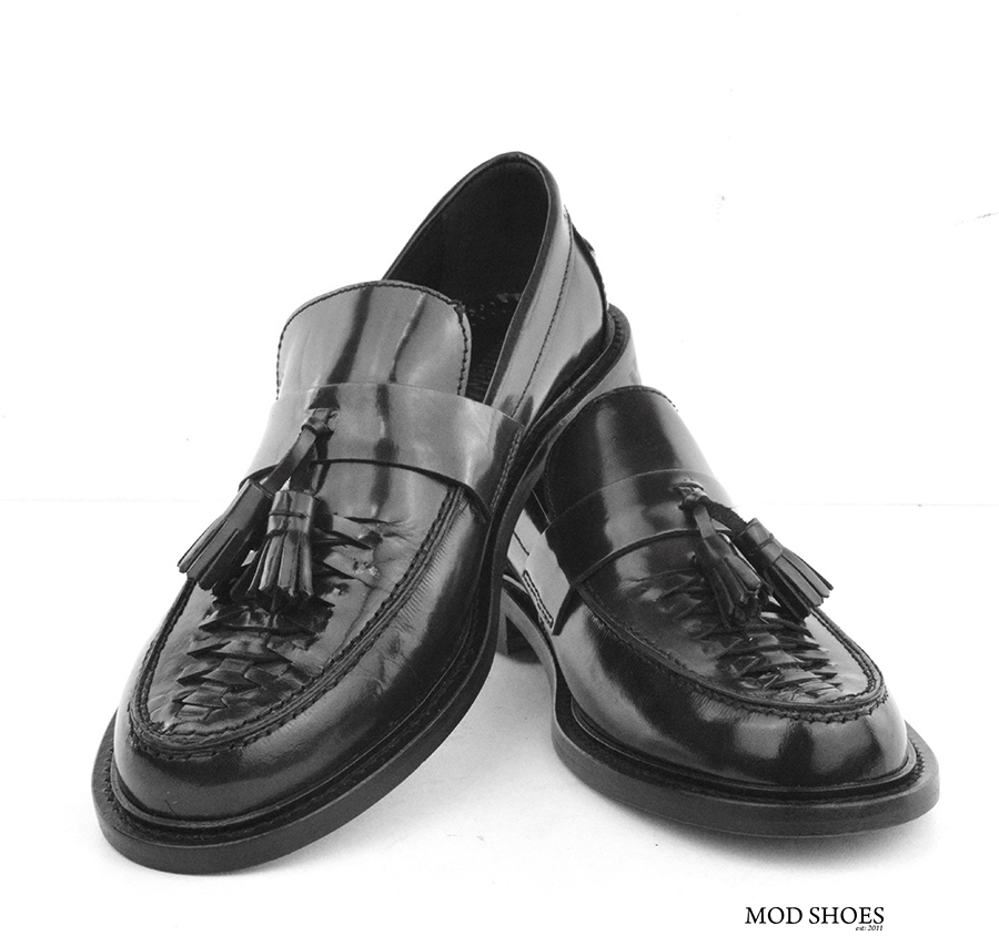 mod shoes basker weave tassel loafers black allnighters 07