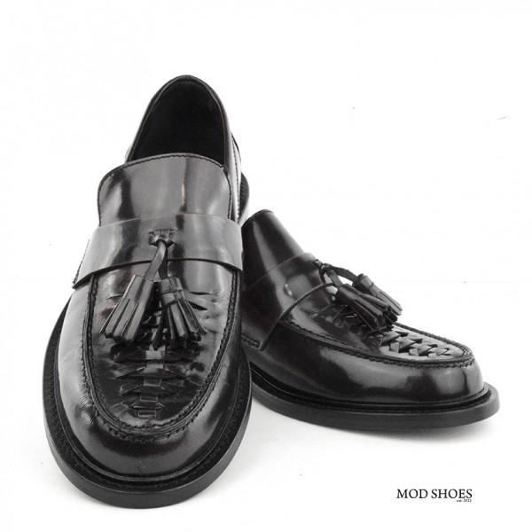 mod shoes basker weave tassel loafers black allnighters 08
