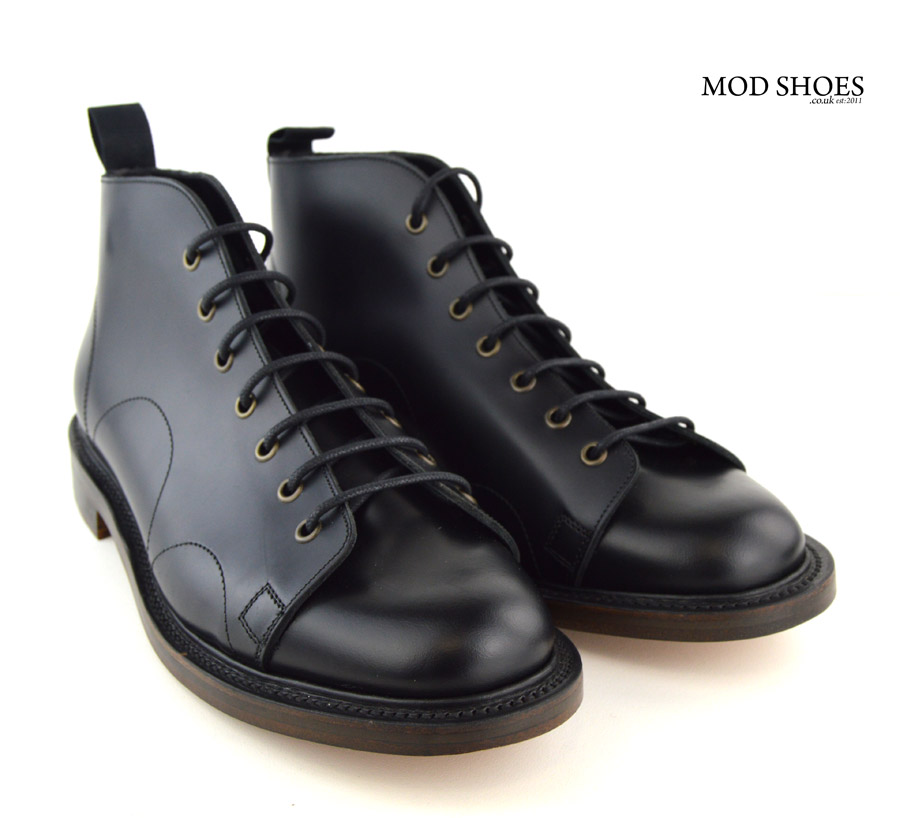 Black Monkey Boots Leather Sole Mod Shoes