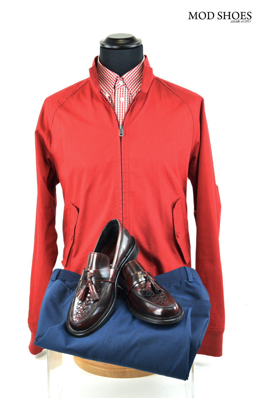 Modshoes mod ska tassel loafersm with red harrington