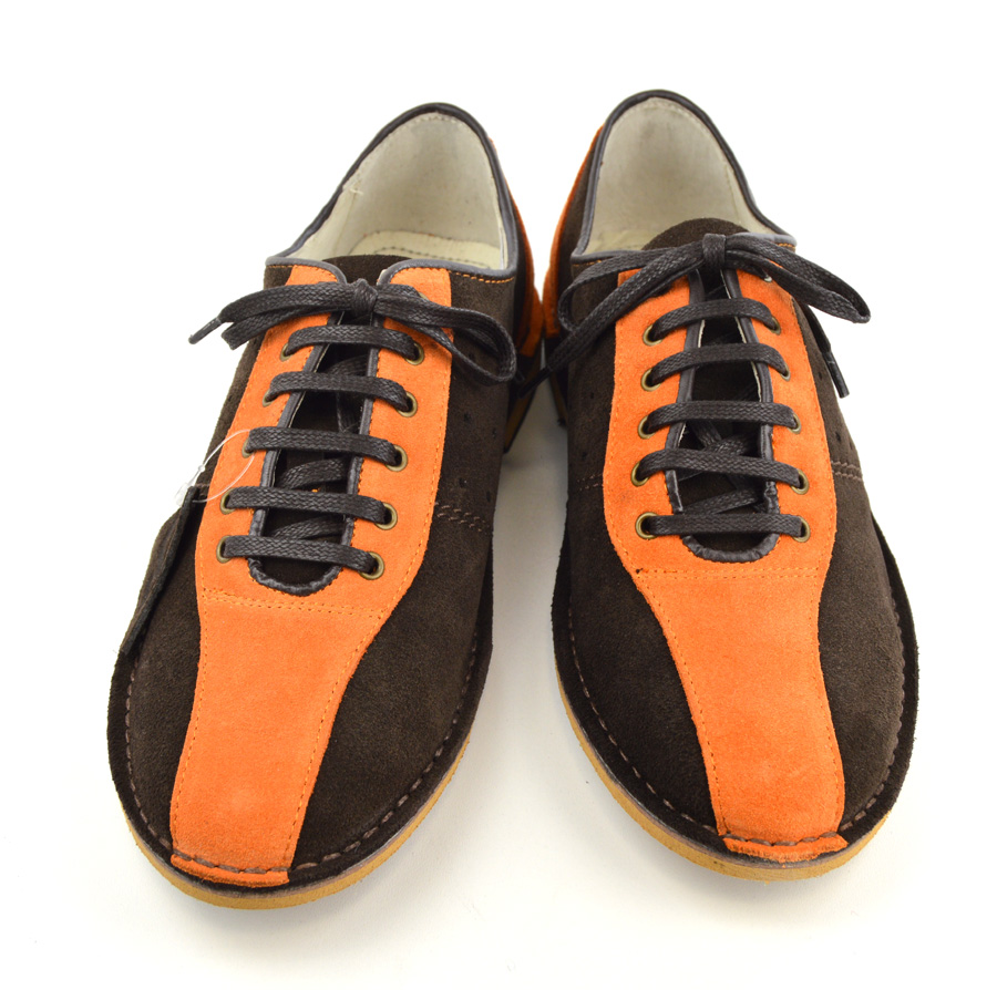 Bowling Shoes – Brown & Orange Suede – Mod Shoes