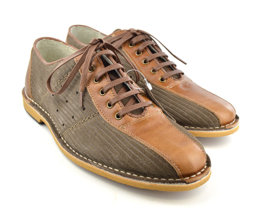 Bowling Shoes – Corded Brown & Leather Shoes – Mod Shoes