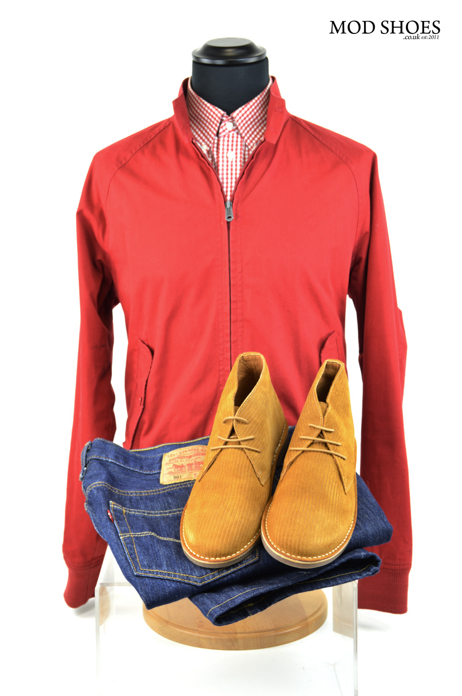 modshoes desert boots with red harrington