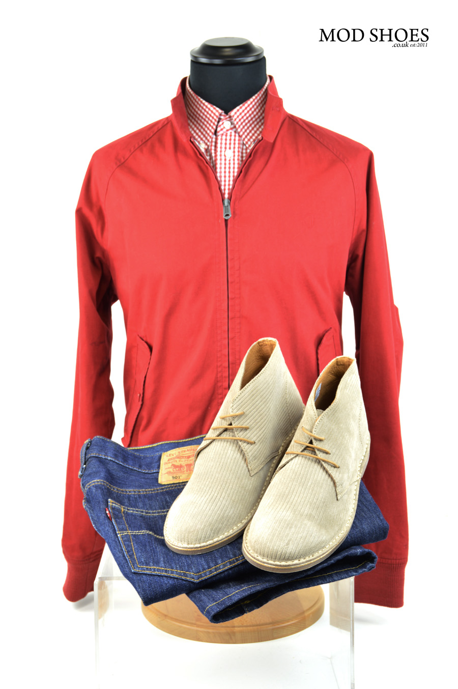 modshoes deset boots with harrington in red