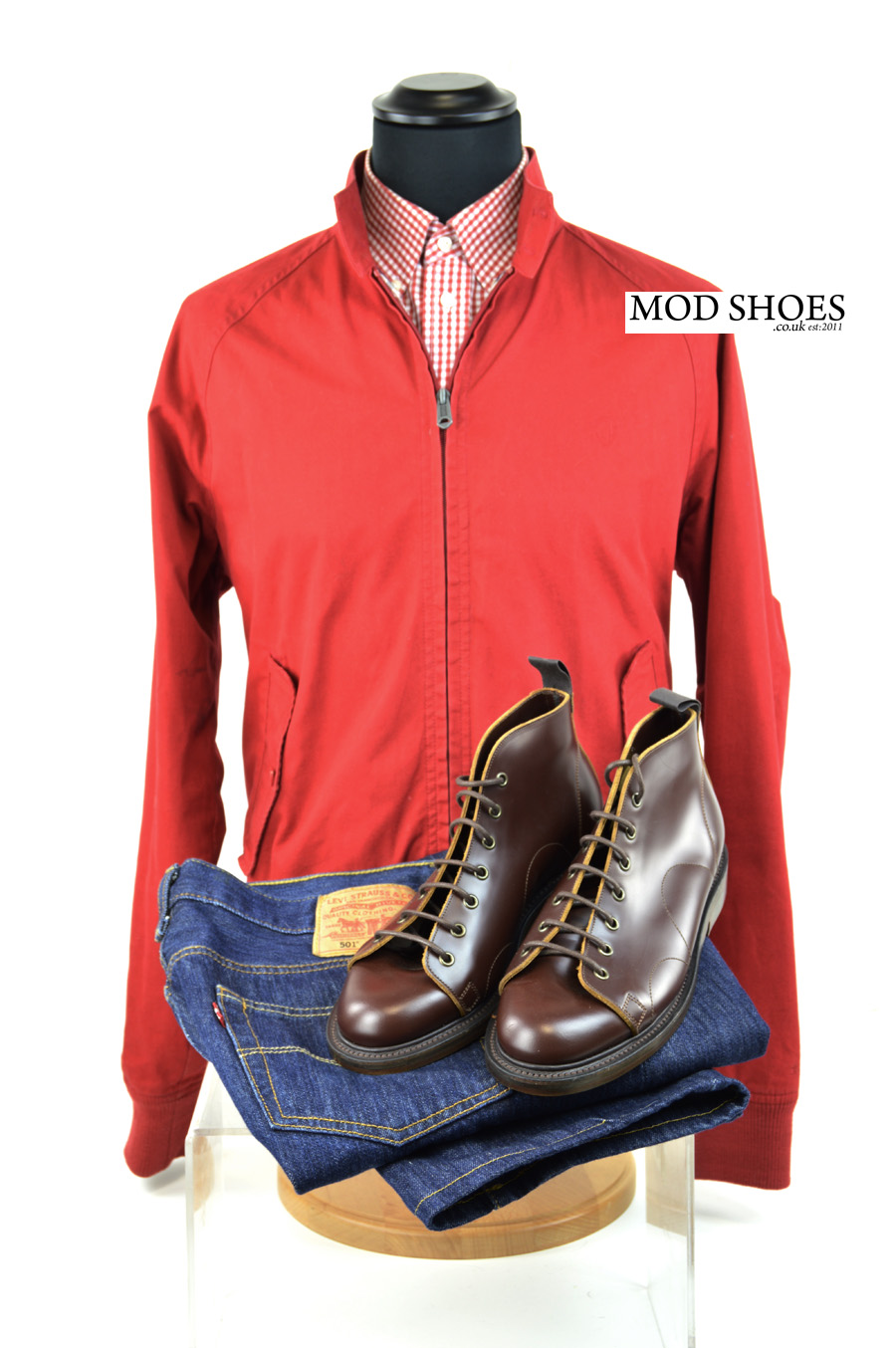 modshoes nut brown monkey boots with red harrington