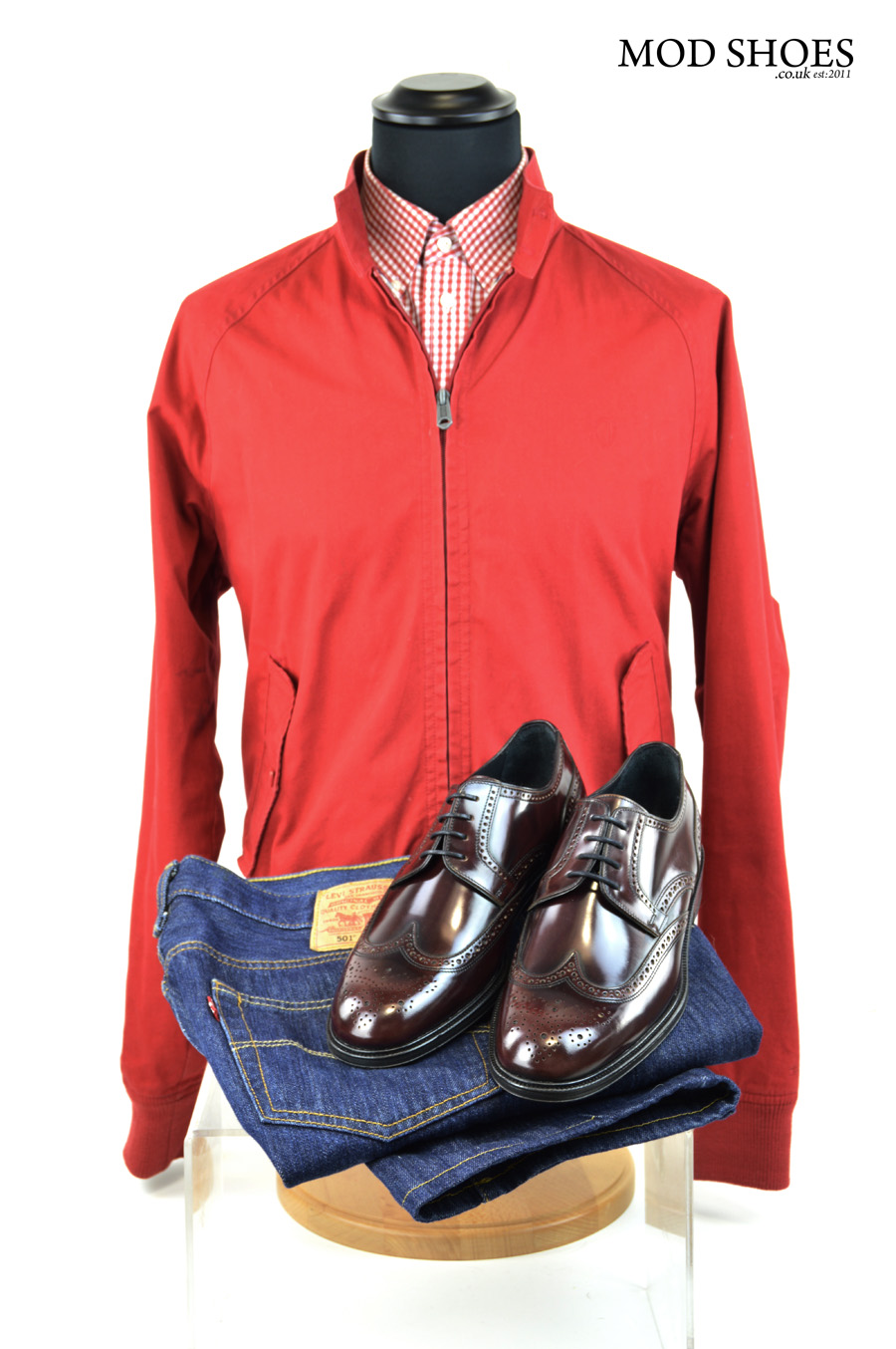 modshoes oxblood brogues with jeans harrington