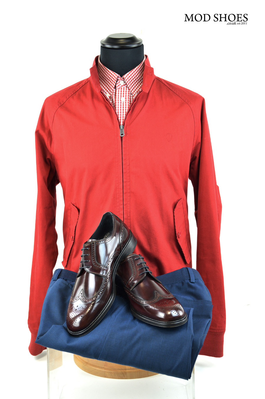 modshoes oxblood brogues with red harrington