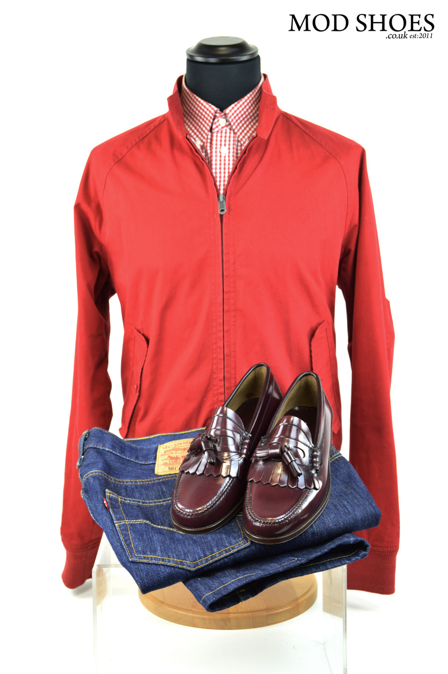 modshoes oxblood burgundy tassel loafers with jeans and harrington