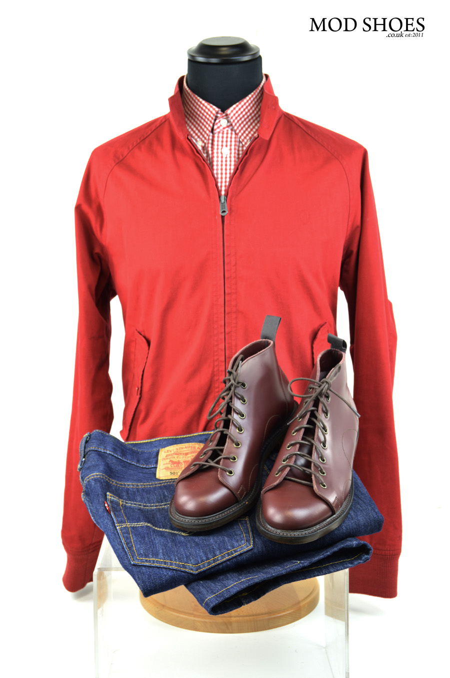 modshoes oxblood monkey boots and red harrington