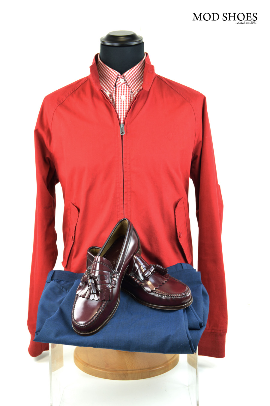 modshoes oxblood tassel loafers with red harrington