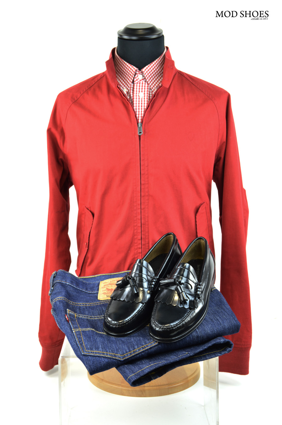 modshoes penny loafers the earls with jeans and red harrington