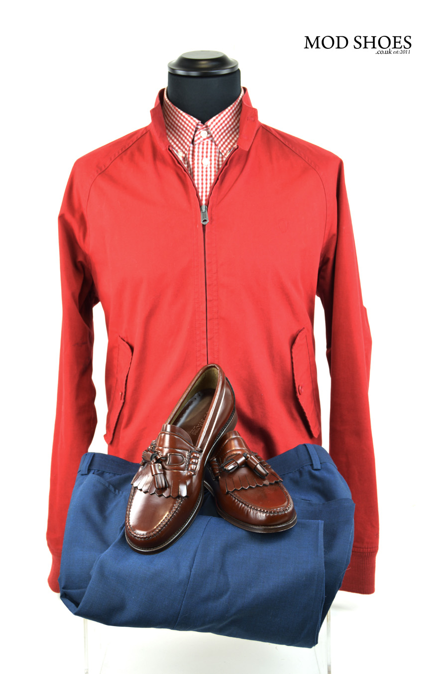 modshoes red harrington with chestnut tassel loafers the dukes