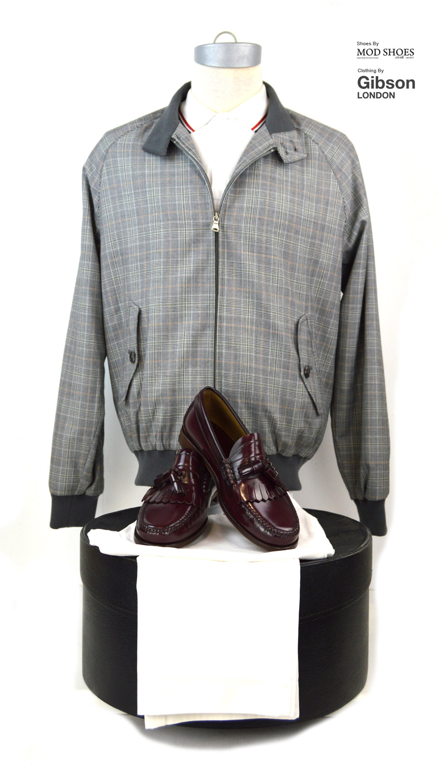 Modshoes-Oxblood-dukess-with-Prince-of-Wales-Harrington-from-Gibson-Clothes
