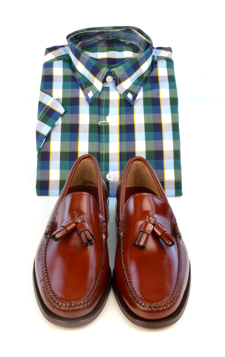 modshoes-chestnut-tassel-loafer-with-check-shirt