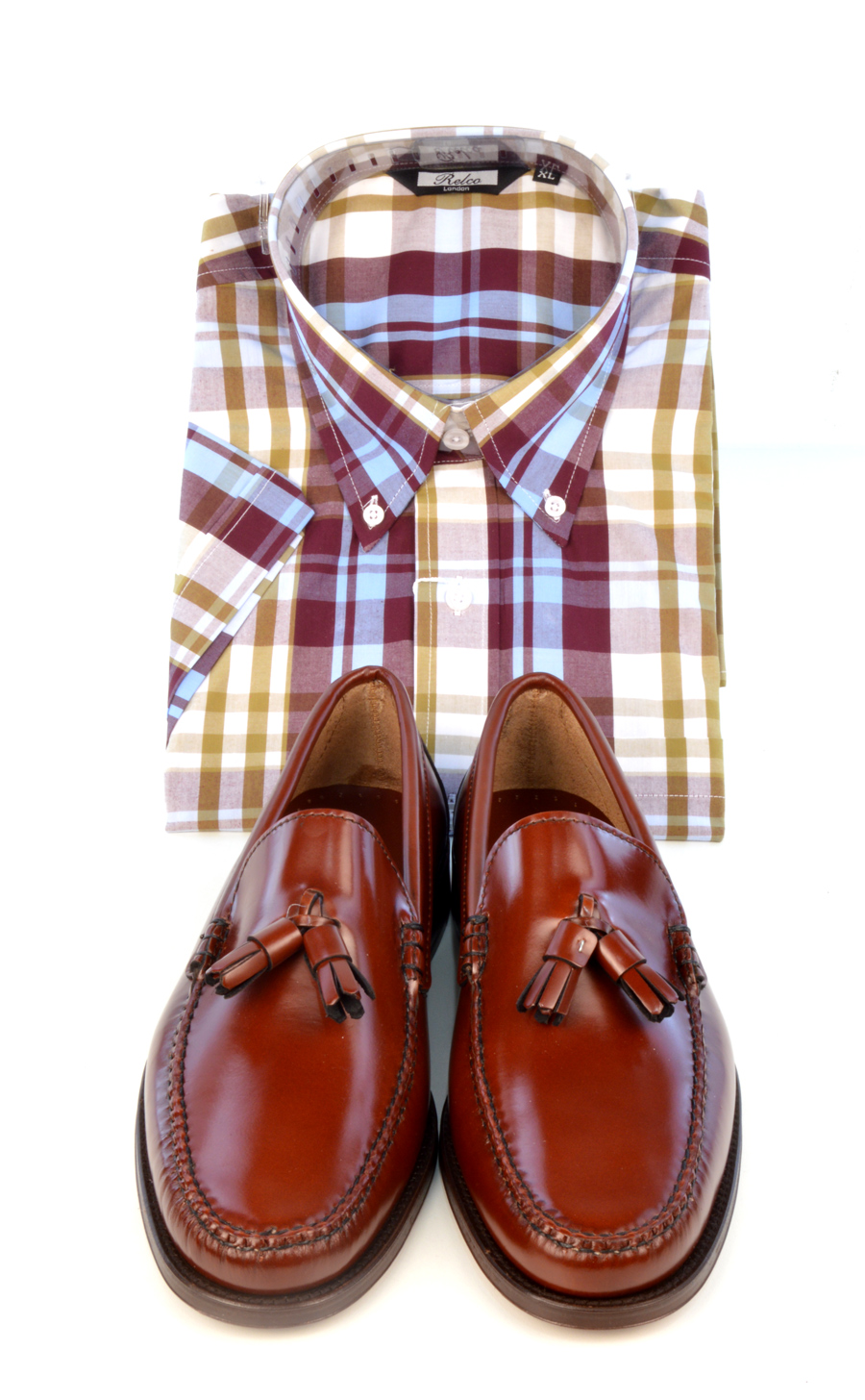 modshoes-chestnut-tassel-loafers-with-check-shirt