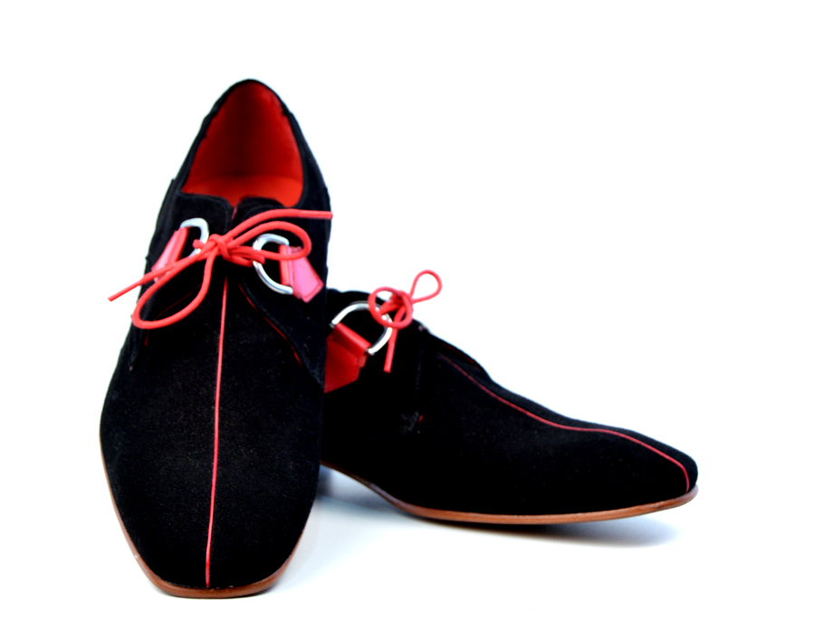 e1cf612c91618a Jeffery West Black   Red Suede Stripe Shoes – Exclusive to Modshoes ...