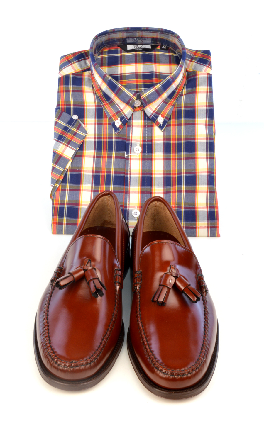 modshoes-lord-cheshnut-tassel-loafers-with-check-shirt