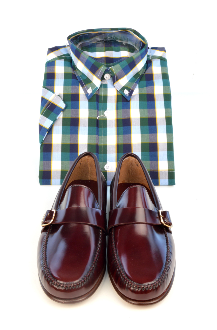 modshoes-oxblood-buckle-loafers-with-check-shirt