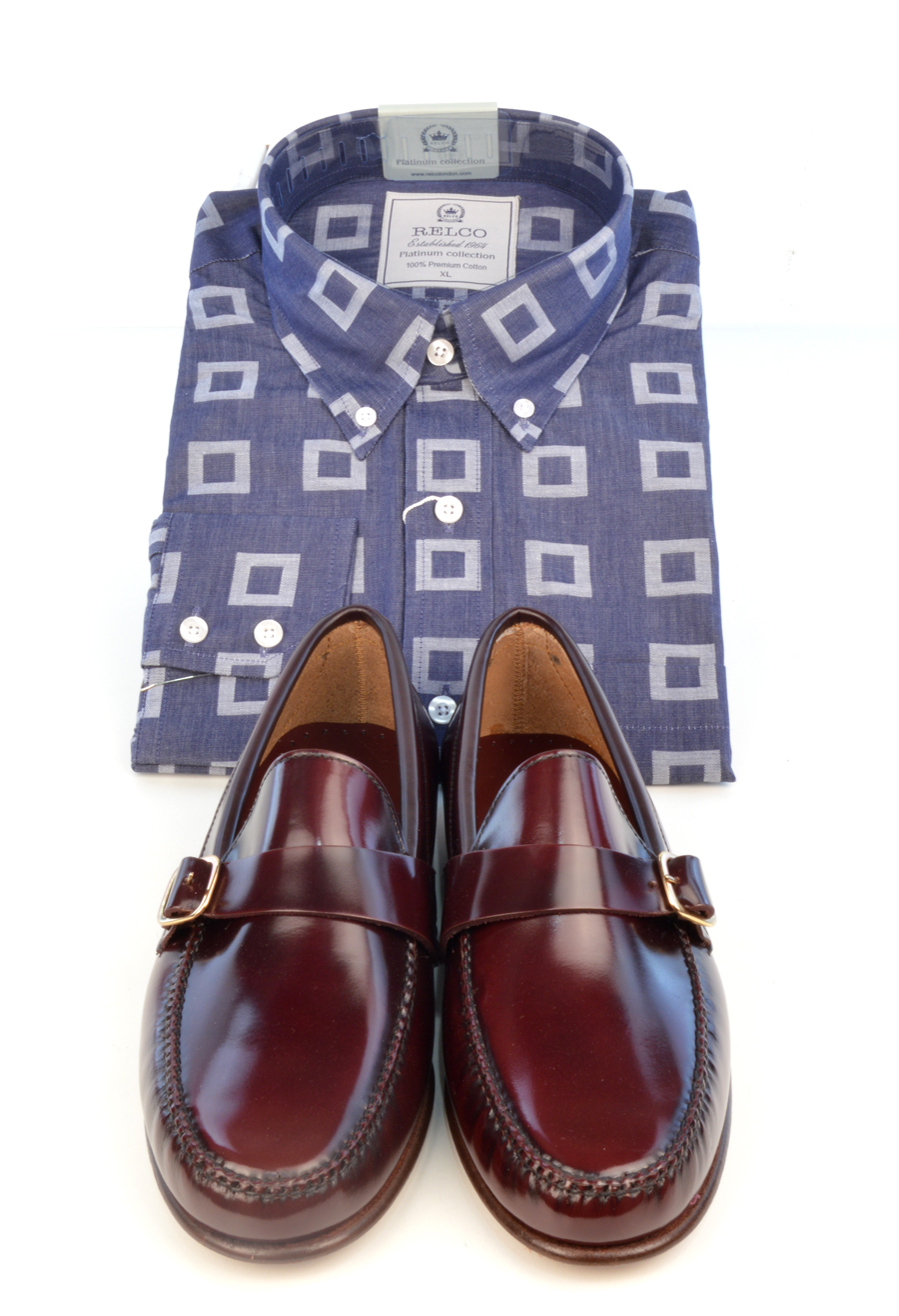 modshoes-oxblood-loafers-buckle-shoes-with-blue-shirt