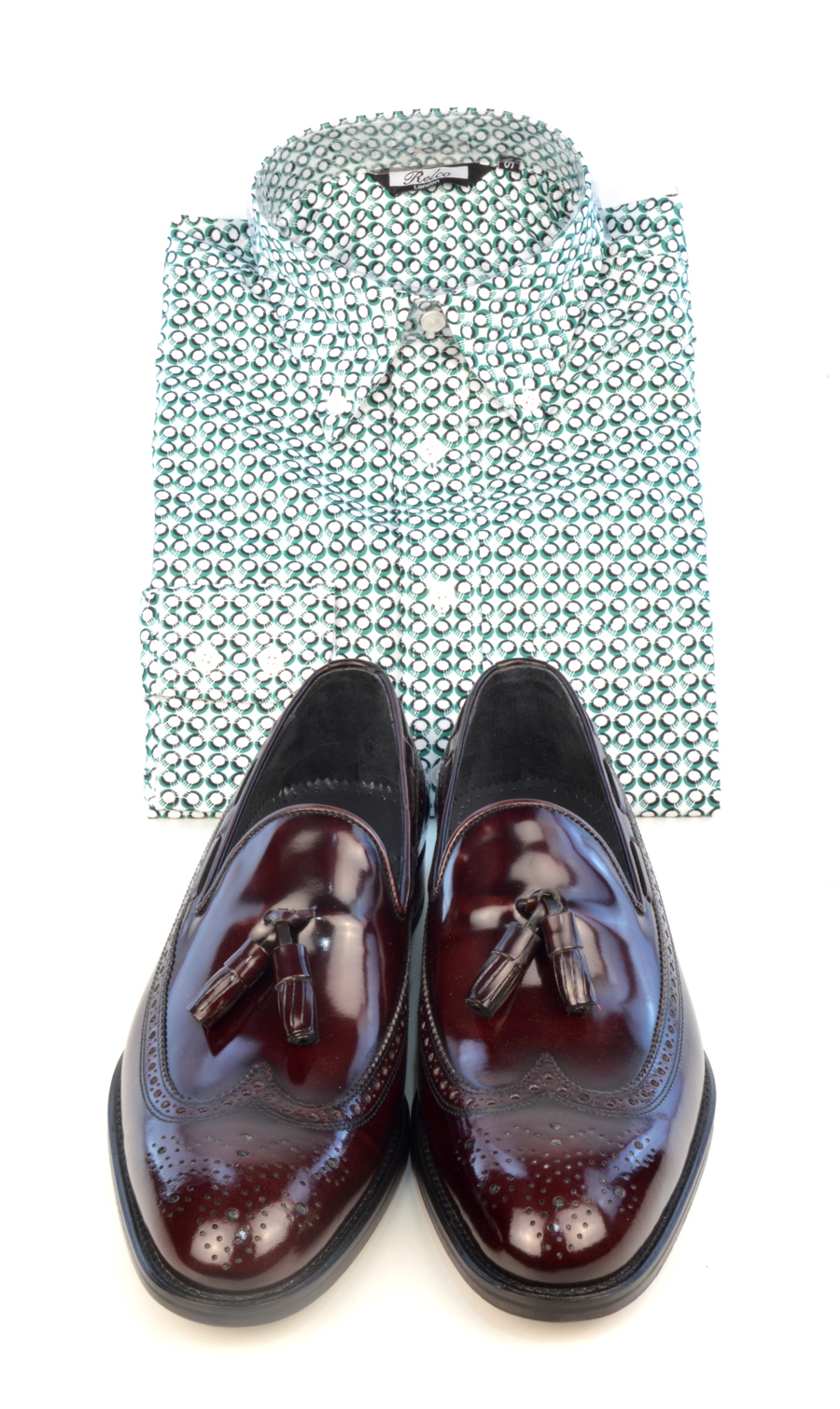 modshoes-oxblood-loafers-with-green-pattern-shirt