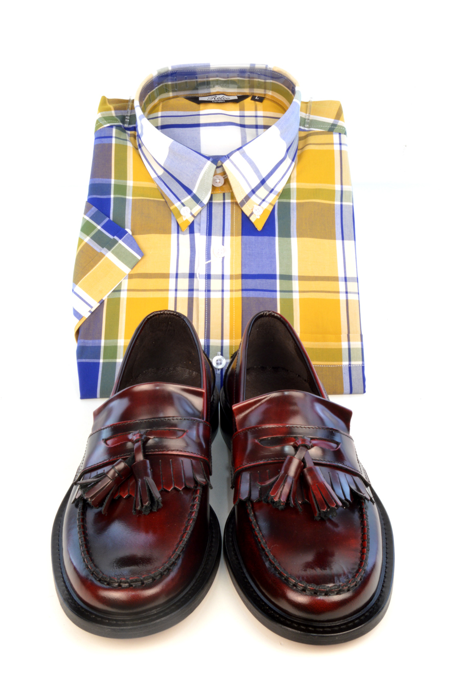 modshoes-oxblood-tassel-loafwers-with-ywllow-check-shirt