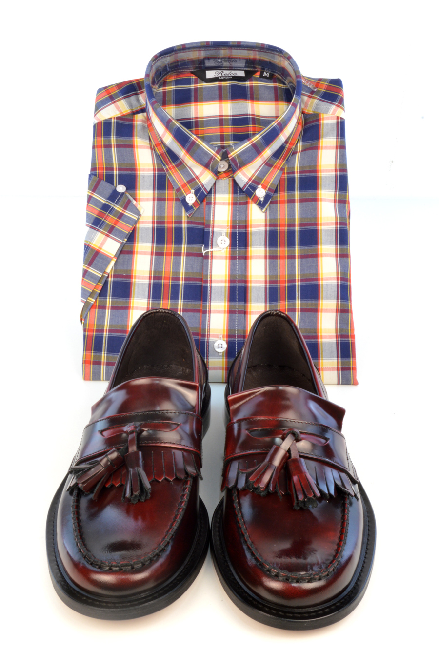 modshoes-prince-oxblood-tassel-loafers-with-check-shirt