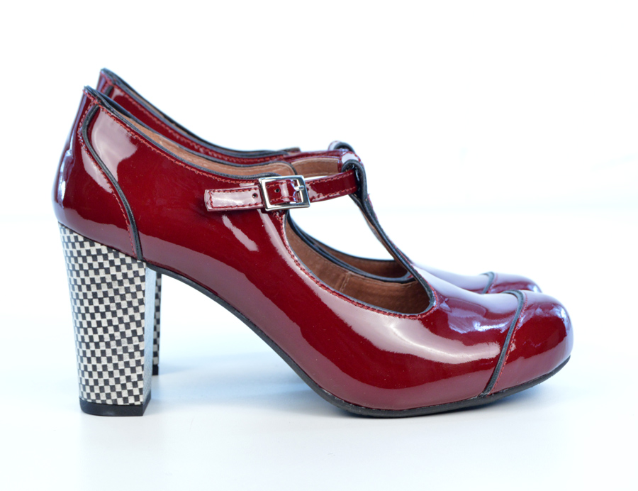 1c0d7b82b7ba02 The Dusty In Red Wine   Burgundy Patent – Ladies Retro T-Bar Shoe by ...