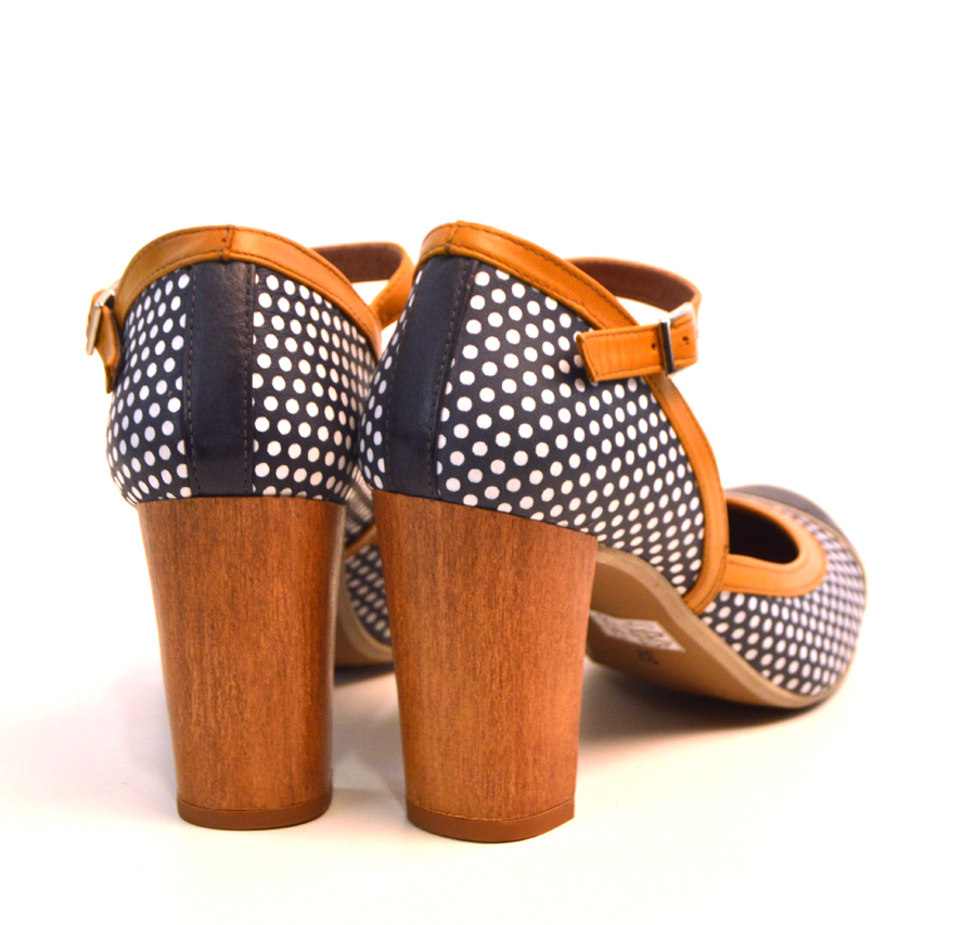 40f7c9684aa82 Sizes 3 Only – Peggy-Sue Blue & Mustard Polka Dotted Leather Ladies ...