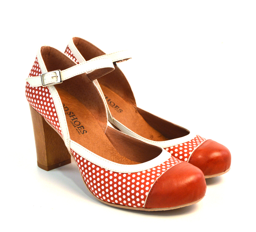 peggy sue polka dotted leather retro shoes