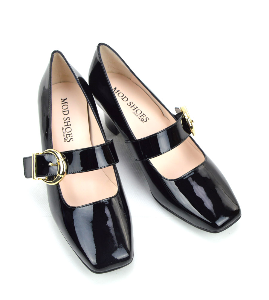 cb7fdad6c2fe The Lola In Black Patent Leather – Mary Jane 60s Style Ladies Shoes ...