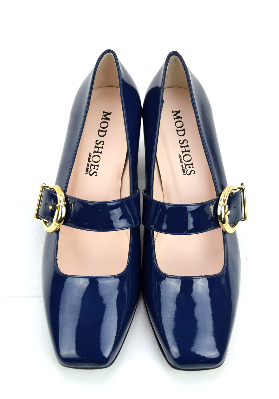 eae7dfe9939d The Lola In Blue Patent Leather – Mary Jane 60s Style Ladies Shoes ...