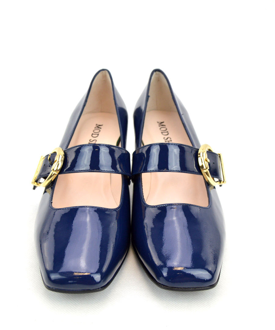 5df9c467e36 The Lola In Blue Patent Leather - Mary Jane 60s Style Ladies Shoes By  Modshoes