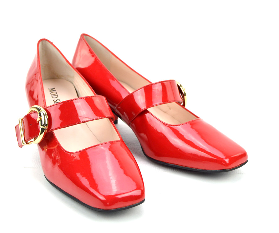 787c870cff19 The Lola In Red Patent Leather – Mary Jane 60s Style Ladies Shoes By ...
