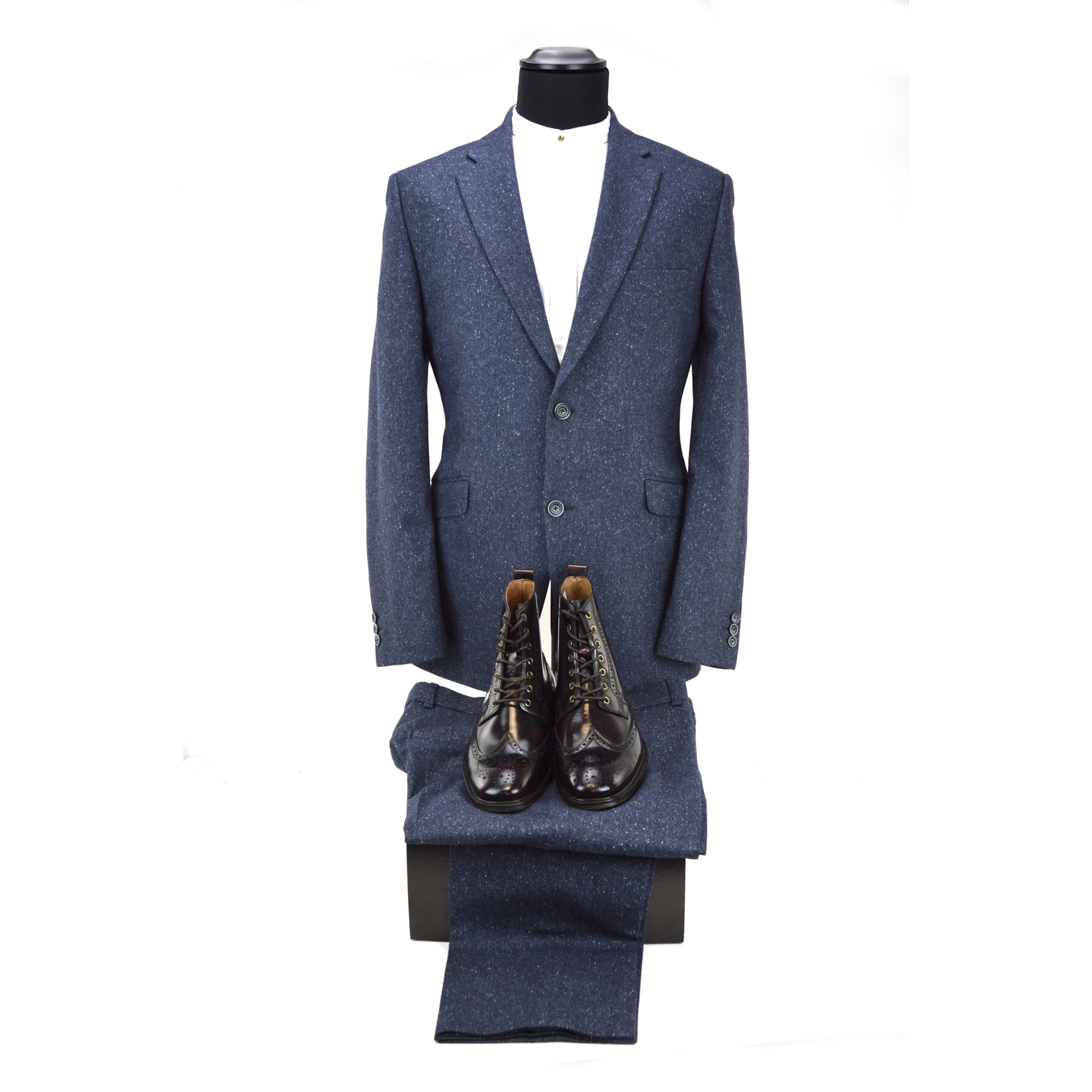 Blue 2 Piece Suit Inc Oxblood Shelby Boots Peaky Blinders