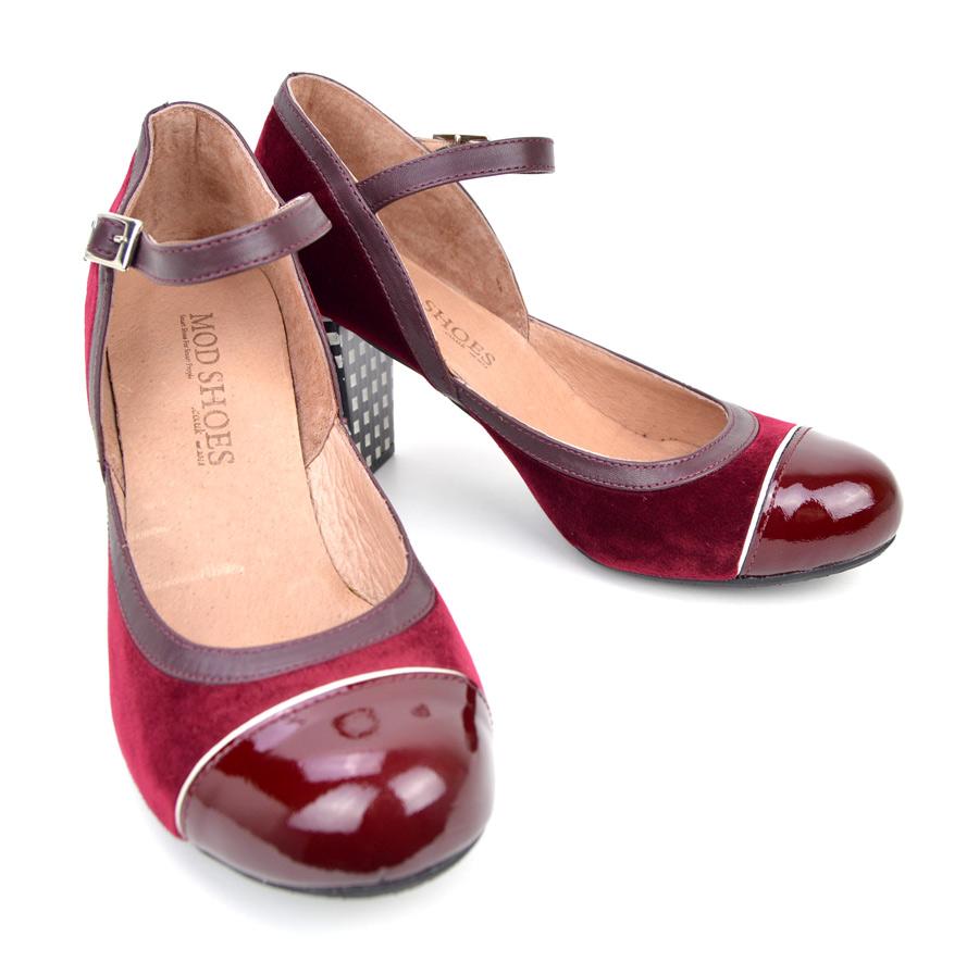 7ba16274f985b9 Plush Peggy Sue – Velvet Feel Burgundy Retro Vintage shoes – Mod Shoes