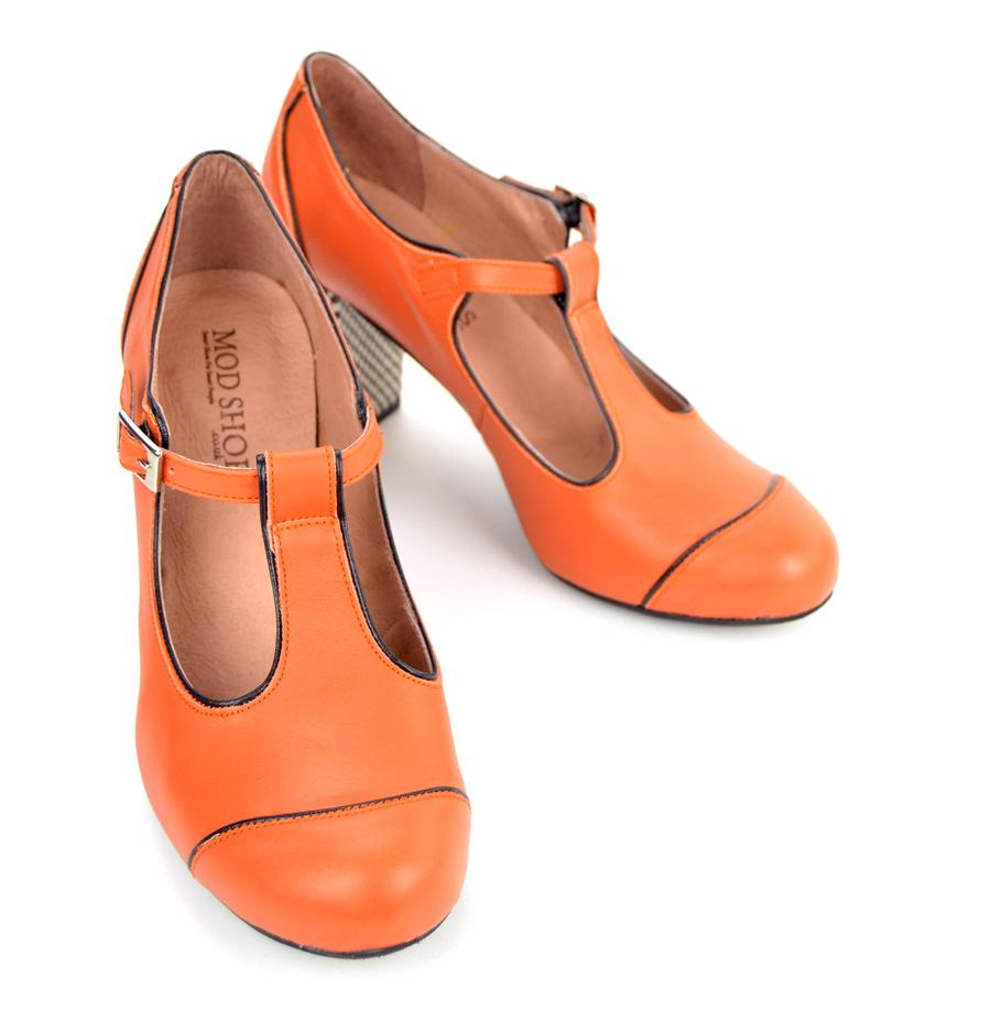 588cda585cf97f The Dusty In Burnt Orange – Ladies Retro T-Bar Shoe by Modshoes ...