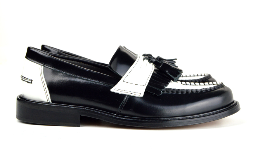 3ed96600d62 Ladies Prince – Black   White Tassel Loafers – Mod Ska Skinhead ...