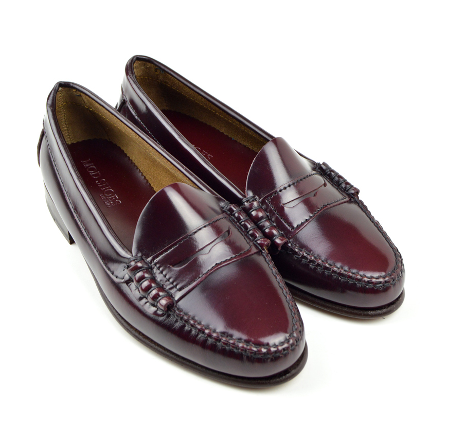 Ladies All Leather Penny Loafer Oxblood